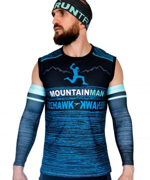 VISTA DELANTERO CAMISETA DE TRAIL RUNNING SIN MANGAS MODELO MOUNTAIN MAN COLOR AZUL JASPEADO