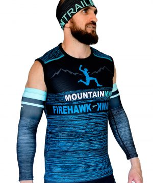 VISTA LATERAL DERECHO CAMISETA DE TRAIL RUNNING SIN MANGAS MODELO MOUNTAIN MAN COLOR AZUL JASPEADO